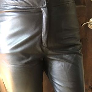 Neiman Marcus black leather hi waist trouser pant